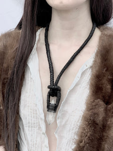 Black Leather & Crystal Necklace