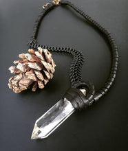 Load image into Gallery viewer, Chain & Crystal Necklace w/ Leather