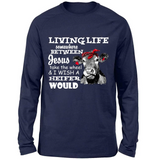 Heifer Funny Quotes Sayings Living Life Somewhere Between Jesus Take The Wheel And I Wish A Heifer Would  Custom Graphic Design For men And Women