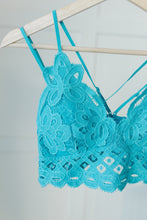 Load image into Gallery viewer, Lacey and Layered Bralette in Harbor Blue