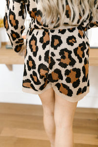 Chasing Sleep Lounge Set Shorts in Leopard