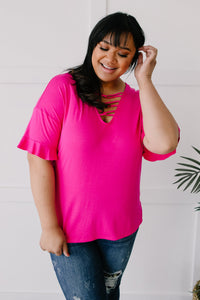 Crossing Wires Top in Fuchsia