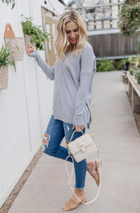In Line Sweater in Heather Gray