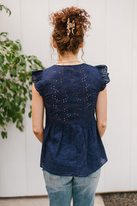 Lucy Eyelets Top in Navy