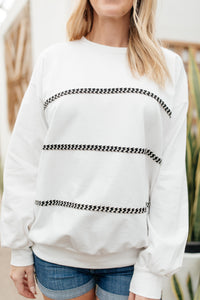 Stitched Together Pullover in White
