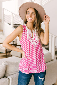 Stripes N Lace Top In Pink