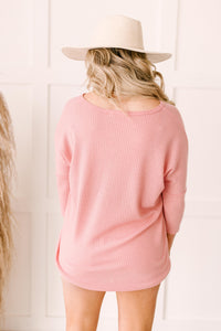 Willow Waffle Knit Top in Blush
