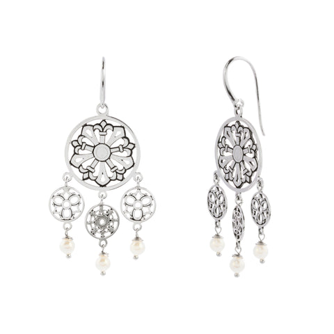 Oxidized Swarovski® Pearl Multi Filigree Disc Earring