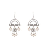 Oxidized Multi Swarovski® Pearl Filigree Abstract Earring