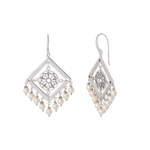 Oxidized Multi Swarovski Pearl Square Filigree Earring
