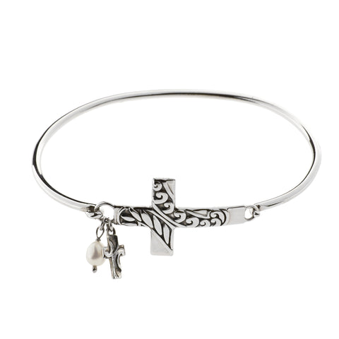 Oxidized Sideways Textured Cross with Cross and Pearl Drop Bracelet