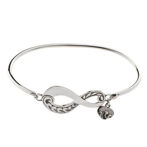 Oxidized Textured Infinity with Heart Drop Bangle