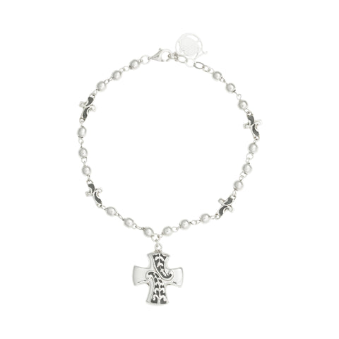 Oxidized Textured Cross Drop Silver Bead Bracelet