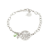 Round Filigree Tree of Life with Swarovski® Crystal and Leaf Drop Chain Bracelet
