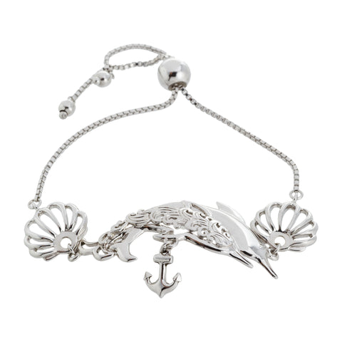 Filigree Dolphin and Sea Shell with Anchor Drop Adjustable Box Chain Bracelet