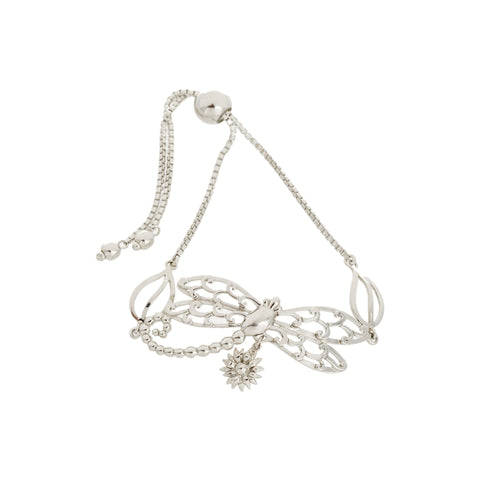 Filigree Dragonfly and Leaf with Flower Drop Adjustable Box Chain Bracelet