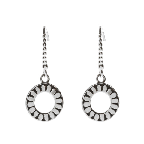 Oxidized Textured Open Circle Drop Earring