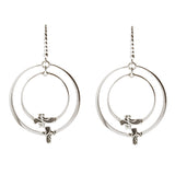 Oxidized Textured Double Circle with Cross Earring