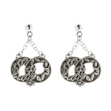 Oxidized Textured Interlocking Circle Chain Drop Post Earring