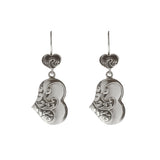 Oxidized Textured Puffed Heart Drop Earring