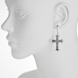 Oxidized Textured Beaded Cross Drop Earring