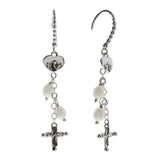 Oxidized Textured Multi Pearl, Cross and Heart Chain Drop Earring