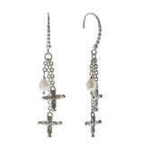 Oxidized Textured Multi Cross and Pearl Chain Drop Earring
