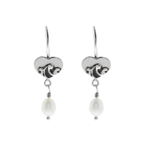 Oxidized Textured Heart and Pearl Drop Earring