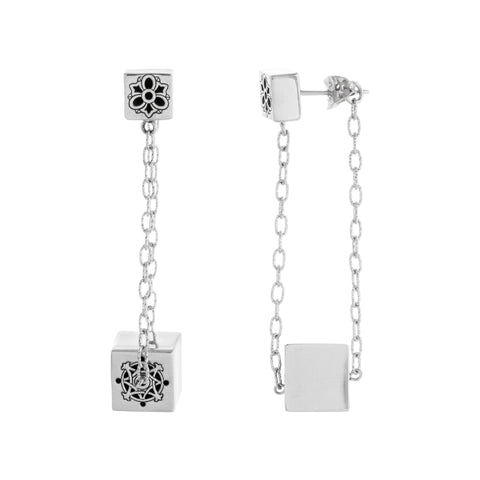 Filigree Cube Chain Drop Post Earring