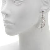 Filigree Crescent Moon and Star Chain Drop Earring