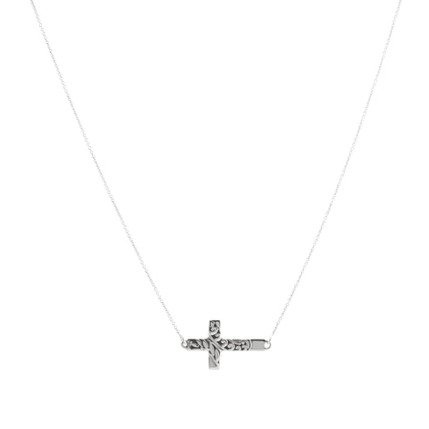 Oxidized Textured Sideways Cross Necklace