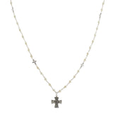 Oxidized Textured Multi Cross Beaded Pearl Necklace