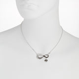 Oxidized Textured Infinity with Heart Drop Necklace