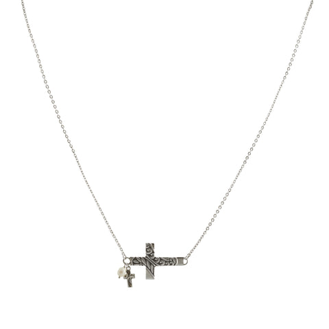 Oxidized Textured Sideways Cross with Cross and Pearl Drop Necklace