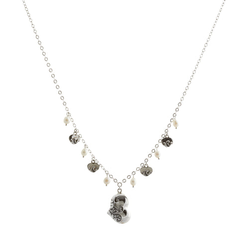 Oxidized Textured Puffed Heart and Pearl Drops Necklace