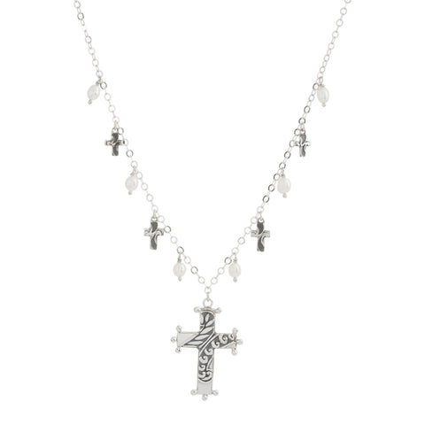 Oxidized Textured Beaded Multi Cross and Pearl Drop Necklace