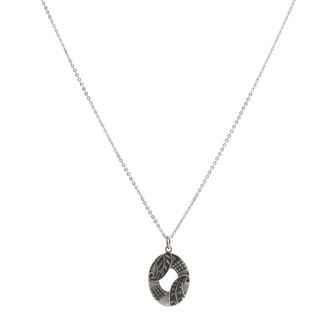Oxidized Textured Open Oval Necklace