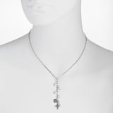 Oxidized Textured Cross, Heart and Pearl Drops Y-Necklace
