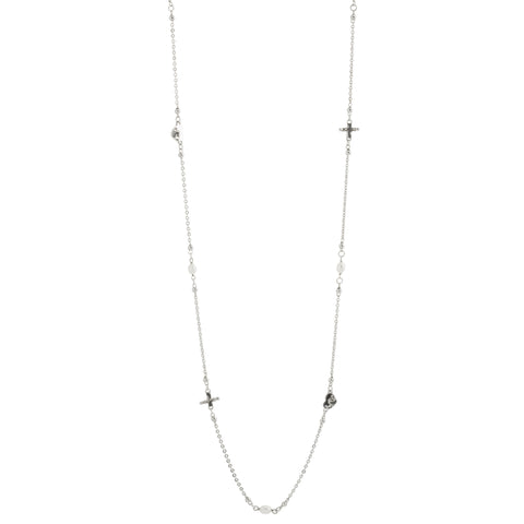 40 Inch Oxidized Textured Multi Heart, Cross and Pearl Necklace