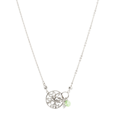 Round Filigree Tree of Life with Swarovski® Crystal and Leaf Drop Necklace