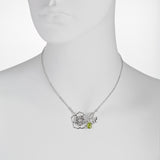 Filigree Flower with Peridot and Bee Drop Necklace