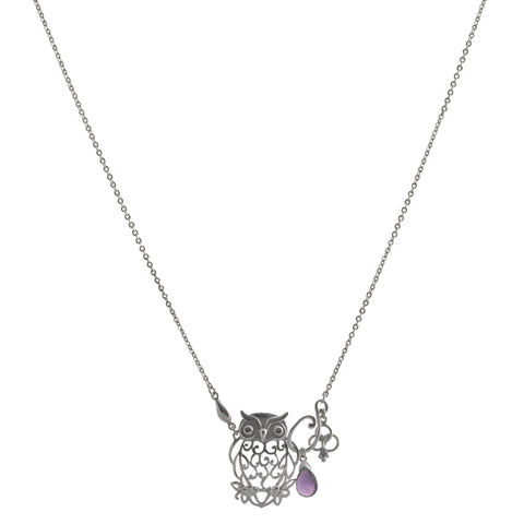 Filigree Owl with Amethyst and Flower Drop Necklace