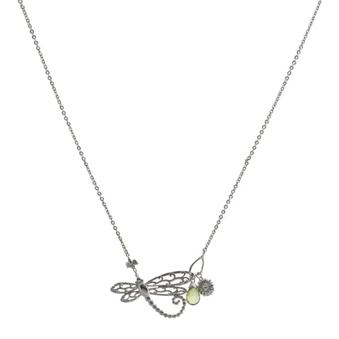 Filigree Dragonfly with Peridot and Flower Drop Necklace