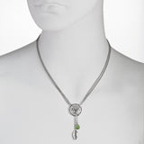 Round Tree of Life with Swarovski® Crystal and Leaf Drop Y-Necklace