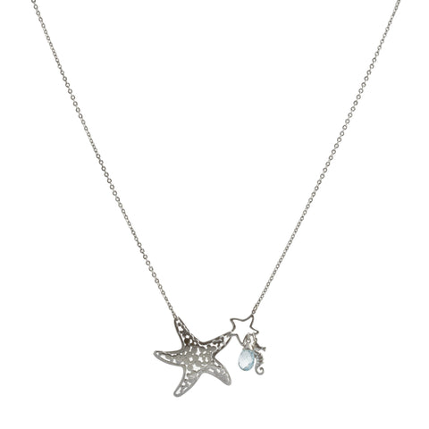 Filigree Starfish with Aquamarine Swarovski® Crystal and Seahorse Drop Necklace