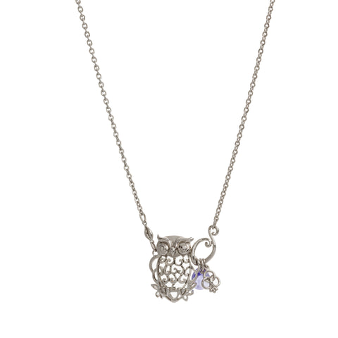 Small Filigree Owl with Amethyst and Flower Drop Necklace