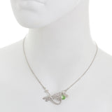Small Filigree Dragonfly with Swarovski® Crystal and Flower Drop Necklace