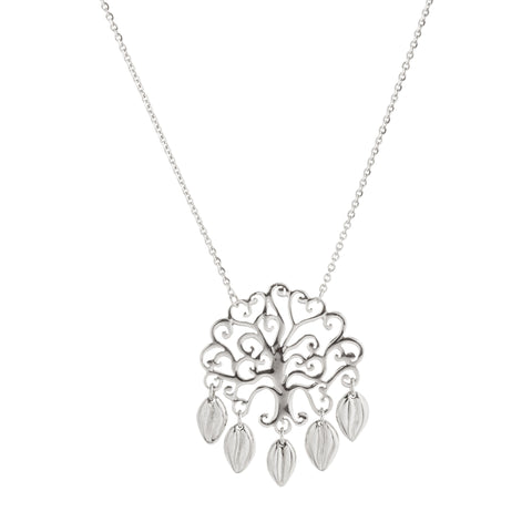 Filigree Tree of Life Multi Leaf Drop Necklace
