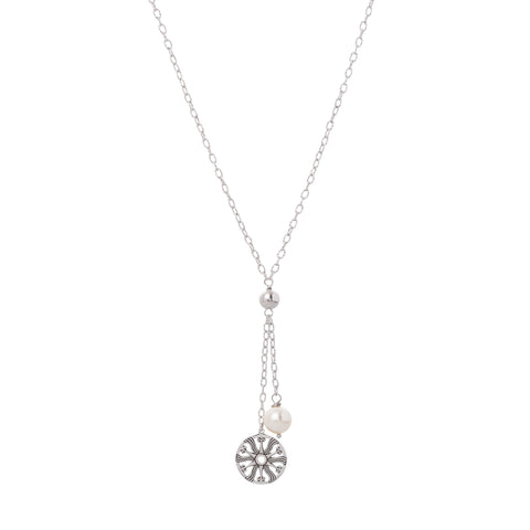 Oxidized Swarovski® Pearl / Filigree Disc Drop Necklace