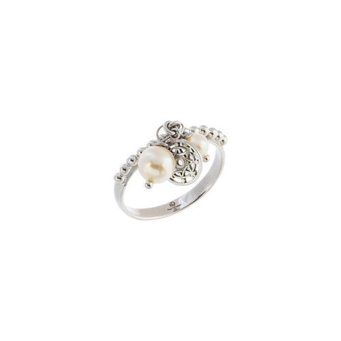 Oxidized Filigree Swarovski® Pearl Beaded Ring
